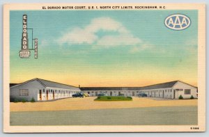 Rockingham NC~McCaskill El Dorado Motor Court~US Route 1~1940s Linen Postcard