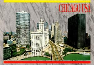 Illinois Chicago Michigan Avenue Showing Wrigley Building and Tribune Tower 1998