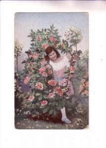 Young Girl Peeking Out of a Rose Bush,
