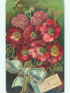 Pre-Linen BEAUTIFUL RED FLOWERS WITH GREEN RIBBON k4526