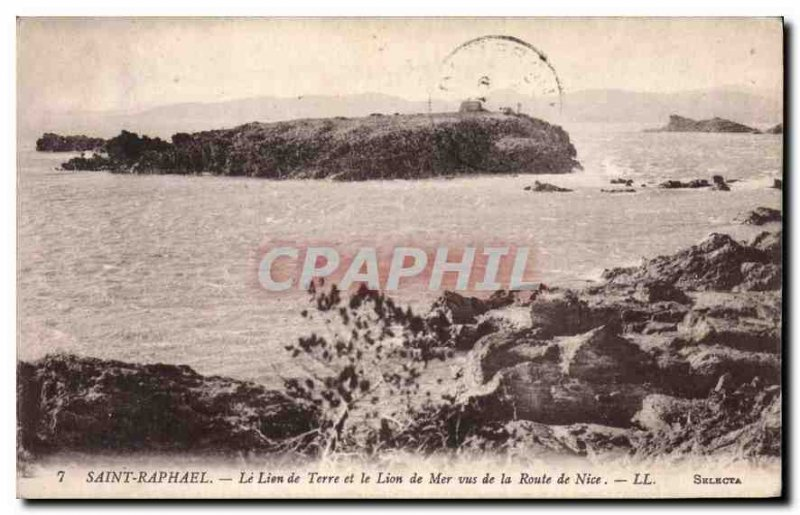 Postcard Old Saint Raphael Lion Land and Sea Lion seen from the road to Nice