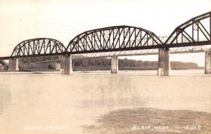 Blair NE Missouri River Toll Bridge, 55¢ RR Trains Carry Case Bailers RPPC 1941