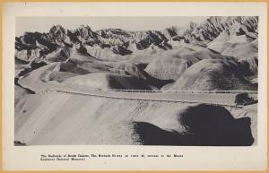 RPPC-Badlands of South Dakota, The Norbeck Hi-way, Route 40-Mount Rushmore