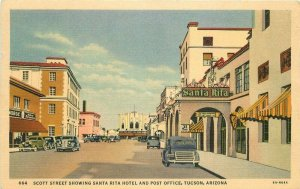 Autos Santa Rita Hotel Post Office Tucson Arizona Scott 1941 Postcard Teich 9016