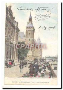 Paris (10th) Old Postcard On The concierge flowers