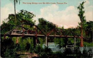 Tampa FL~Multi-Horse Wagon Crossing the Long Bridge over 6 Mile Creek~c1910