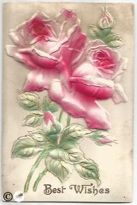 Vintage Novelty Postcard Heavily Embossed Pin Roses Best Wishes