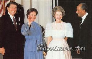 First Lady Nancy Reagan Postcard Egyptian President Anwar Sadat