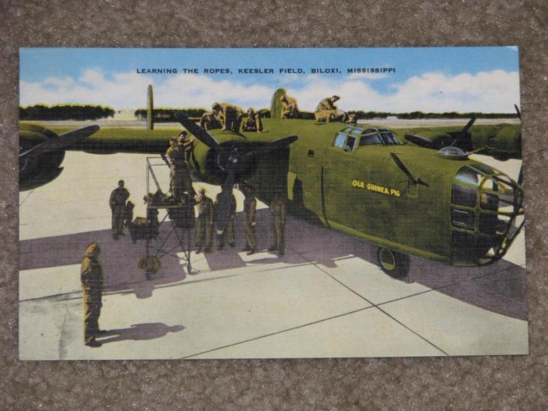 B-24 , Learning the Ropes, Keesler Field, Biloxi, Miss., unused vintage card