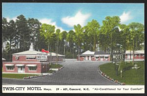 Twin City Motel Concord North Carolina Unused c1950s