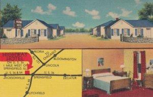 SPRINGFIELD , Missouri , 1930-40s ; Highway Motel , map ; RT 66 & U.S. 36