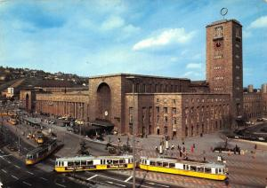 Stuttgart Hauptbahnhof Station Street Tram Cars Postcard
