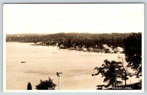 Hubertus-Richfield Wisconsin~Birdseye Friess Lake~Tall Birdhouse RPPC c1910