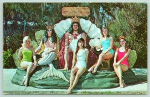 Weeki Wachee Florida~Bathing Beauty Mermaids~King Neptune Photo Op~1970 Postcard