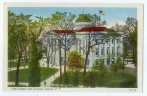Linen Card of State Capitol & Grounds Raleigh NC
