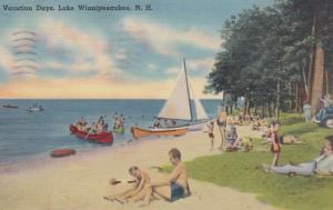 New Hampshire Lake Winnipesaukee Beach Scene Vacation Days 1942