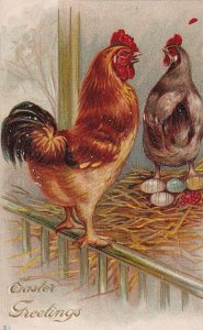 EASTER, 1900-10s; Greetings, Rooster , Hen & Decorated Eggs