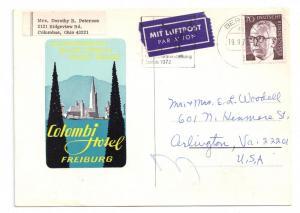 Colombi Hotel Freiburg Postcard 1972 4X6