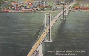 Delaware Wilmington Delaware Memorial Bridge At Night