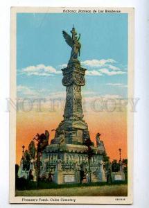 190742 CUBA Firemens Tomb Colon Cemetery Vintage postcard