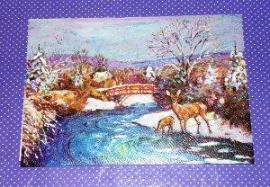 Vtg Christmas Card Embassy Winter Forest Deer Stream Bridge Scene Art Print #231