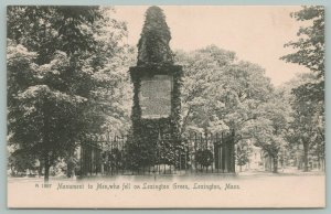 Lexington Massachusetts~Monument to Men Who Fell on Lexington Green~c1905 B&W