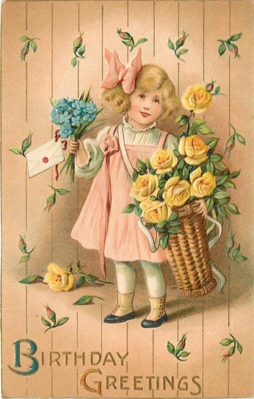 [SOLD] Lil Girl In Pink~Wicker Basket Of Yellow Roses~Gold Leaf~Emboss~Winsch~Se