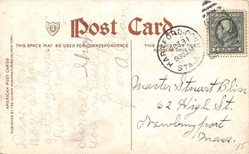 Hartford Connecticut~Allyn House Hotel~Busy Street Corner~Auto~1912 Postcard