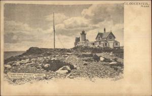 Gloucester MA Eastern Point Lighthouse c1910 Postcard - Version #29
