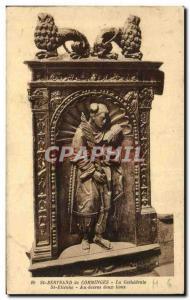 Old Postcard Saint Bertrand de Comminges cathedral St Etienne Au dessu two lions