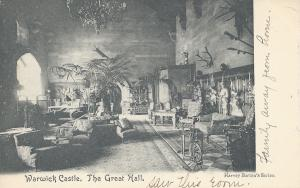 Warwick Castle: The Great Hall, Warwickshire, England, Early Postcard, Used