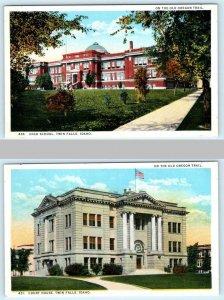 2 Postcards DOTHAN, Alabama AL ~ FIRST BAPTIST CHURCH & Post Office c1940s Linen