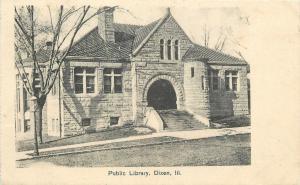 Dixon Illinois~Public Library~1908 B&W Postcard