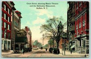 Buffalo NY~Court Street~Shea's Vaudeville Theatre~Cottler Daniels~Trolley~1908