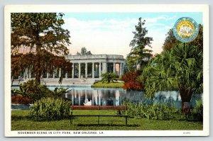 New Orleans LA~City Park in November~Seal~Brer Rabbit Molasses Adv PC~1920s