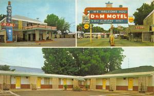 Forest City AR D & M Motel Shell & Gulf Gas Stations Postcard