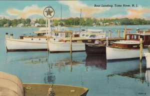 TOMS RIVER, New Jersey , 1930s ; Boat Landing & TEXACO Boat Gas Station