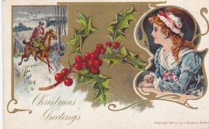 CHRISTMAS; Greetings, Woman wearing bonnet, Man horseback riding, Holly, PU-1907