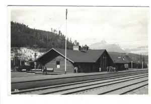 Lake Louise Canadian Railroad Station Train Depot RPPC Real Photo Postcard