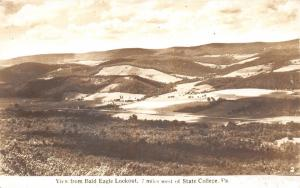 State College Pennsylvania~View from Bald Eagle Lookout~Farm Land~Vintage RPPC