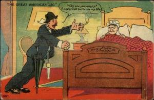 Happy Drunk Comes Home to Angry Wife GREAT AMERICAN JAG c1910 Postcard