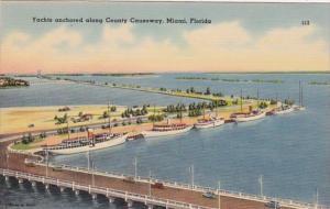 Florida Miami Yachts Anchored Along Causeway 1945