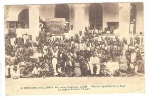 Crowd posing in front of La Saite Enfance a Lome, Togo, 00-10s