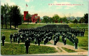 1910s OHIO STATE UNIVERSITY Postcard O.S.U. Cadets and Armory, Columbus, O