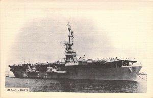 US Navy Ship, Aircraft Carrier, USS Rendova, CVE-114,  Old Postcard