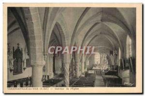 Old Postcard Varengeville sur Mer Interior of church