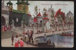 100649 USA East Board Walk. White city Chicago Vintage PC