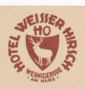 Germany Werigerode Ho Hotel Weisser Hirsch Vintage Luggage Label sk2946