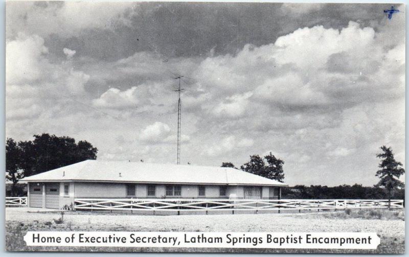 Aquilla Texas Postcard LATHAM SPRINGS Baptist Camp Home of Executive Secretary