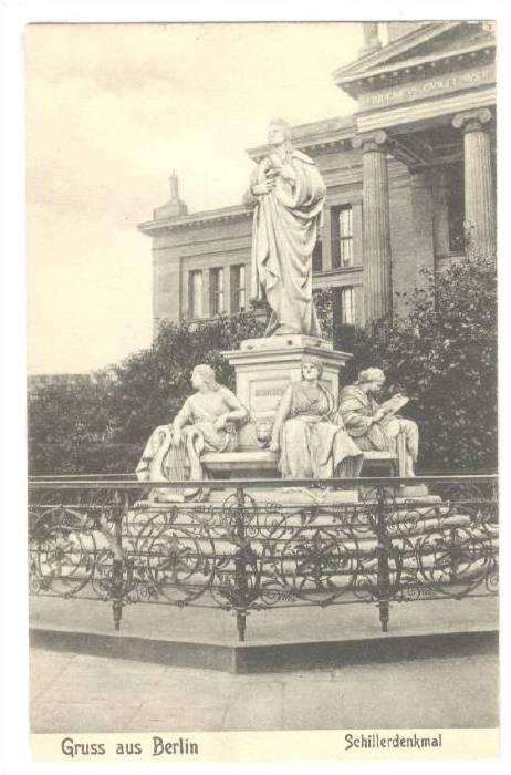 Schillerdenkmal, Gruss Aus Berlin, Germany, 1900-1910s